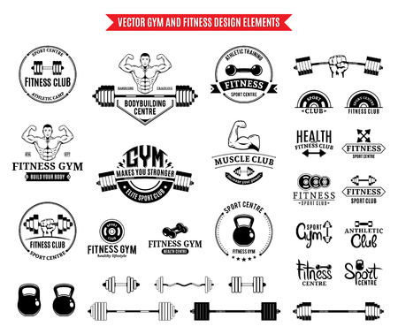 Sport and fitness logo, gym labels and design elements.