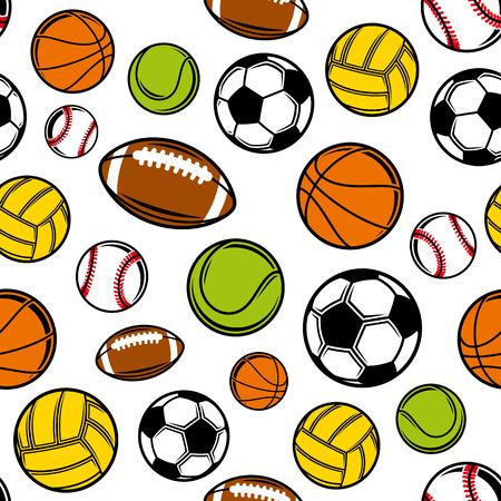 Sport balls background, seamless pattern. Ilustração Vetorial