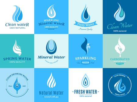 Water logo, labels, icons and design elements.