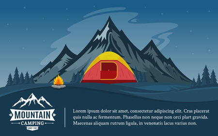 Vector mountains camping horizontal banner. Wild nature landscape with tourist tent, meadow, mountain, campfire and trees. Illustration