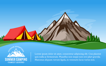 Vector mountains camping horizontal banner. Wild nature landscape with tourist tent, meadow, mountain, campfire and trees. 向量圖像