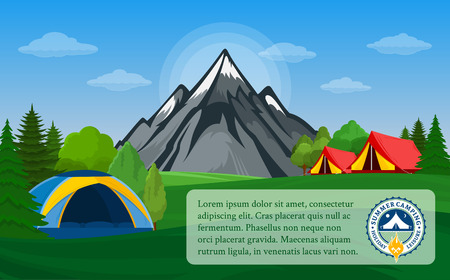 Vector mountains camping horizontal banner. Wild nature landscape with tourist tent, meadow, mountain, campfire and trees.