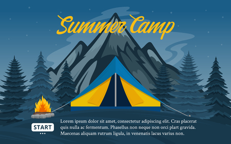 Vector mountains summer camp horizontal banners. Wild nature landscapes with tourist tent, meadow, mountain, campfire and trees.