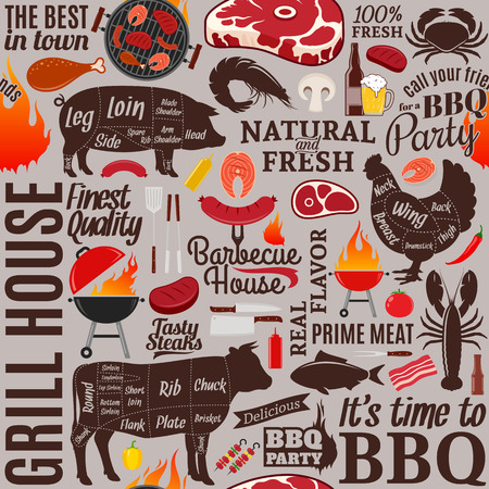 Vector barbecue seamless pattern or background. BBQ, meat, vegetables, beer and equipment icons for cafe, bar and restaurant menu, branding and identity.