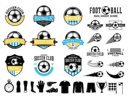 Satz von Vektor-Fußball-(Fußball-)Clublogo, Etiketten und Symbolen für Sportmannschaften, Turniere und Organisationen. Logo