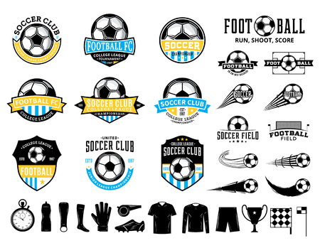 Set of vector football (soccer) club logo, labels and icons for sport teams, tournaments and organizations. Logo