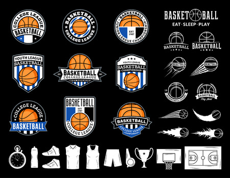 Set of vector basketball logo, labels and icons for sport teams, tournaments and organizations. 矢量图像