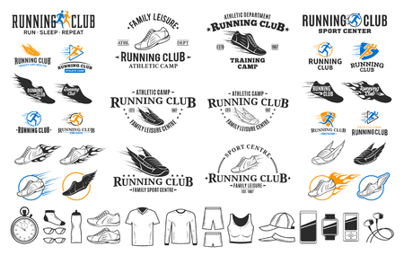 Set of vector running logo, labels and icons for sport organizations, tournaments and marathons. Illustration
