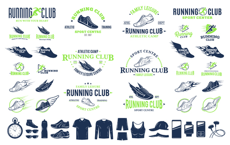 Set of vector running logo, labels and icons for sport organizations, tournaments and marathons.  イラスト・ベクター素材