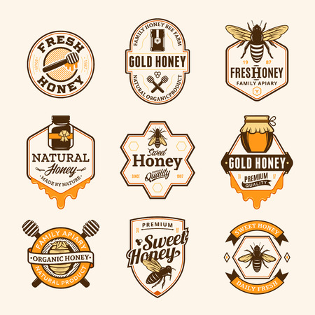 Vector honey logo and icons for honey products, apiary and beekeeping branding and identity. Illustration