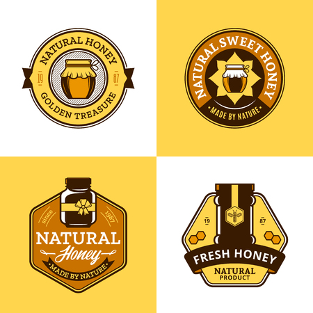 Vector honey logo and jar icons for honey products, apiary and beekeeping branding and identity.