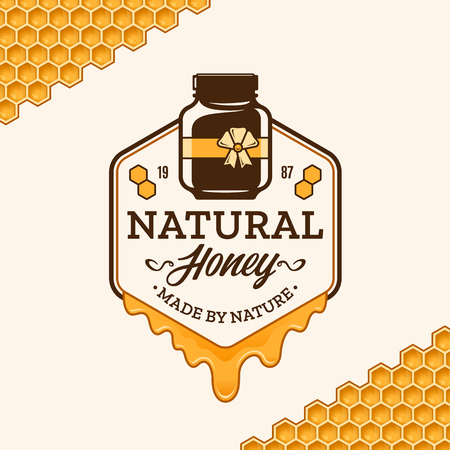Vector honey logo with jar, dripping honey and honeycombs.