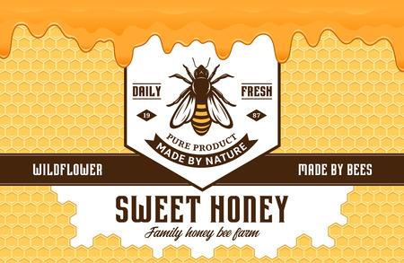 Honingetiket en verpakkingsontwerpsjabloon met bijen, honingraten en druipende honing voor bijenteelt- en bijenteeltproducten, banding en identiteit.