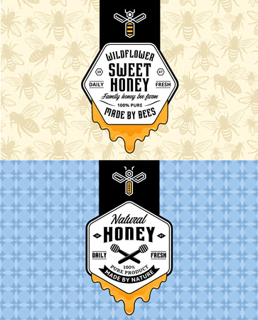 Honey labels, logo and packaging design templates for apiary and beekeeping  products, branding and identity. Vector honey illustration and patterns. 矢量图像