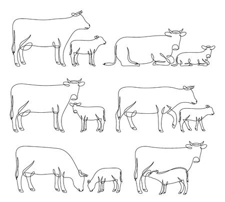 Ciągłe rysowanie linii krów i cieląt w różnych pozach na białym tle dla gospodarstw, sklepów spożywczych, rzeźni, opakowań produktów mlecznych i marki. Ilustracje wektorowe