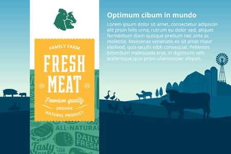 Vektorfleischillustration mit ländlicher Landschaft und Nutztieren. Metzgereietikett im modernen Stil. Metzgerei Muster und Designelemente.