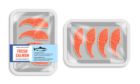 Vector salmon packaging illustration. White foam tray with plastic film mockup. Modern style fish label. Ilustração