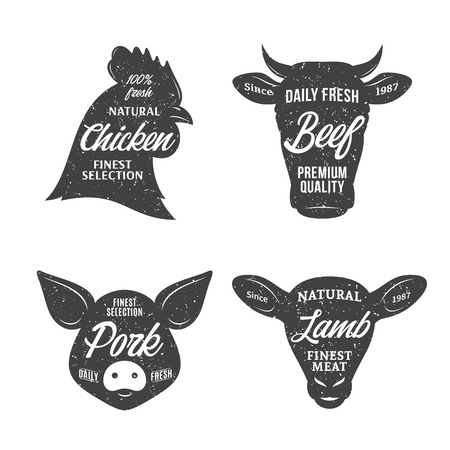 Retro styled butchery logo templates. Farm animal icons for groceries, meat stores, butcher's shops, packaging and advertising.
