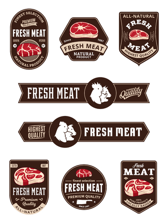 Vector meat store and butchery logo and labels. Steak and farm animals icons.