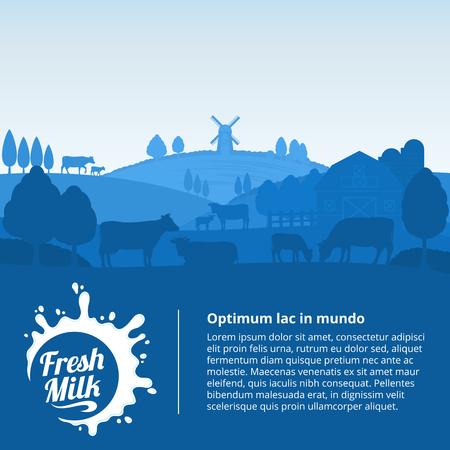Vector milk illustration with milk splash, rural landscape with cows, calves and farm.