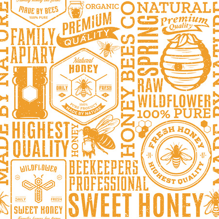 Retro styled honey seamless pattern, logo and packaging design elements for apiary and beekeeping  products, branding and identity. Vector honey icons, bees and jars.