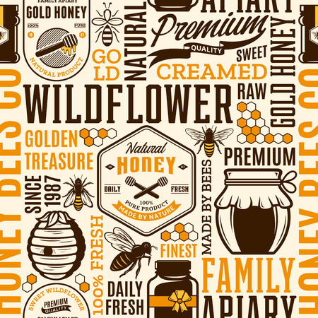 Honey seamless pattern, logo and packaging design elements for apiary and beekeeping  products, branding and identity. Vector honey icons, bees and jars.