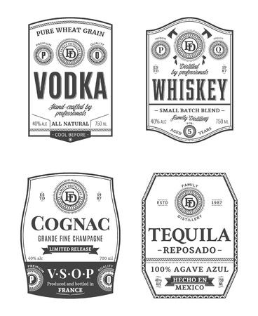 Alcoholic drinks vintage labels and packaging design templates. Vodka, whiskey, cognac and tequila labels. Distilling business branding and identity design elements.