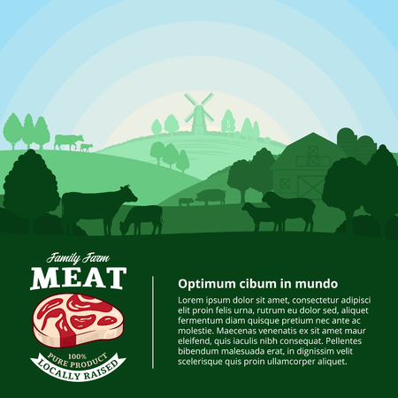 Vector farm fresh meat illustration with rural landscape and farm animals. Modern style butchery label. Butcher's shop or farming design elements.