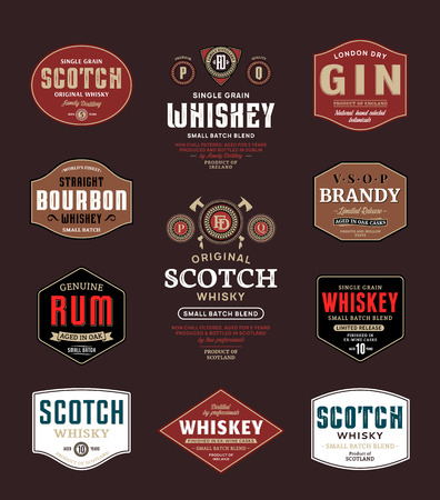 Alcoholic drinks labels and packaging design templates. Whiskey, scotch, rum, brandy, bourbom and gin labels. Distilling business branding and identity design elements.