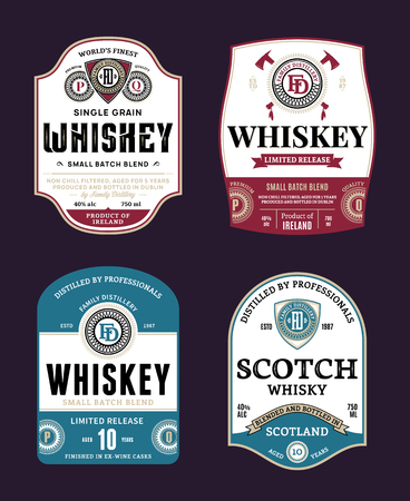 Vector vintage whiskey and scotch whisky labels. Distilling business branding and identity design elements. Vector Illustration