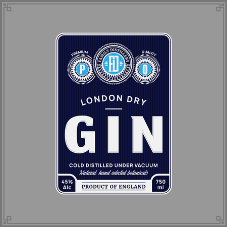Vector blue and silver gin label isolated on a grey background. Distilling business branding and identity design elements.