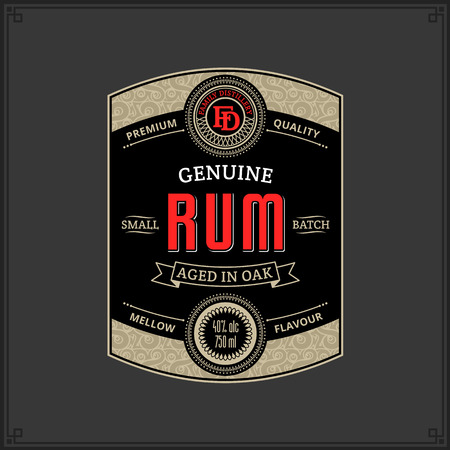Vector black and gold vintage rum label isolated on a dark background. Distilling business branding and identity design elements.