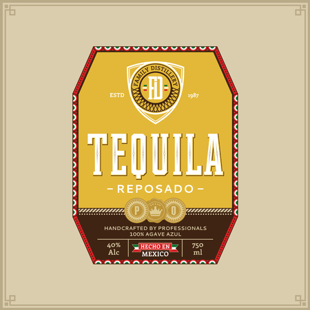 Vector colorful tequila reposado label isolated on a beige background. Distilling business branding and identity design elements.