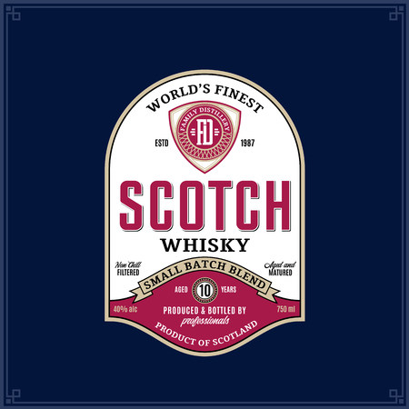 Vector vintage scotch whisky label on a dark blue background. Distilling business branding and identity design elments. Ilustrace