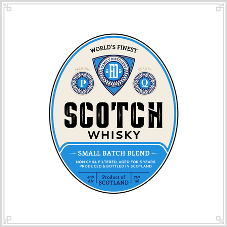 Vector blue and beige vintage scotch whisky label on a white background. Distilling business branding and dentity design elments.