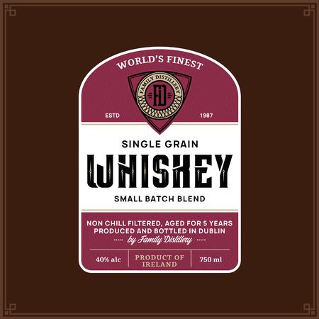 Vector vintage whiskey label on a brown background. Distilling business branding and identity design elments.