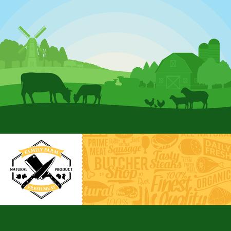 Vectorillustratie vers vlees met landelijke landschap en boerderijdieren. Moderne stijl slagerij label en vlees pictogrammen patroon. Slagerij of landbouw ontwerpelementen. Vector Illustratie
