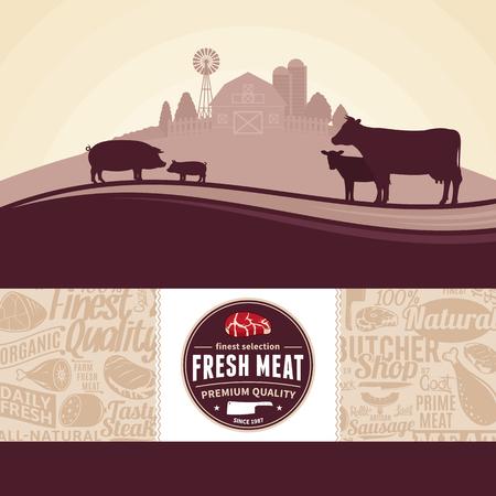 Illustration vectorielle de viande fraîche avec paysage rural et animaux de la ferme. Étiquette de boucherie de style moderne et motif d'icônes de viande. Boucherie ou éléments de conception agricole. Vecteurs