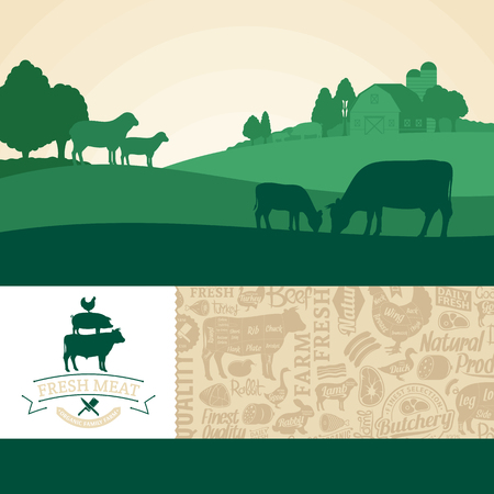 Vector fresh meat illustration with rural landscape and farm animals. Modern style butchery label and meat icons pattern. Butchers shop or farming design elements.