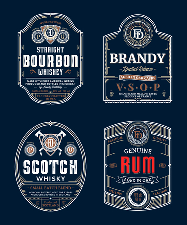 Alcoholic drinks vintage thin line labels and packaging design templates. Bourbon, brandy, scotch whisky and rum labels. Distilling business branding and identity design elements.