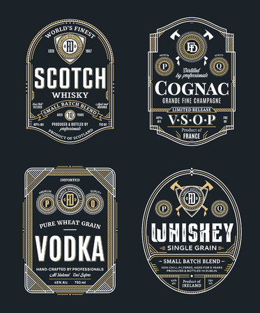 Alcoholic drinks vintage thin line labels and packaging design templates. Scotch whisky, cognac, vodka and whiskey labels. Distilling business branding and identity design elements.