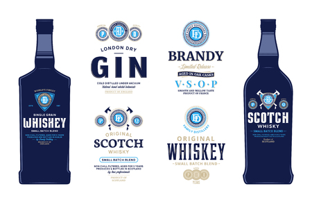 Alcoholic drinks labels and bottle mockup templates. Whiskey, scotch whisky, brandy and gin labels. Distilling business branding and identity design elements.
