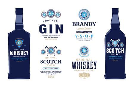Etykiety napojów alkoholowych i szablony makiety butelek. Etykiety na whisky, szkocką whisky, brandy i gin. Destylowanie elementów brandingu biznesowego i projektowania tożsamości.