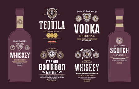 Alcoholic drinks labels and bottle mockup templates. Whiskey, scotch whisky, bourbon, tequila and vodka labels. Distilling business branding and identity design elements.