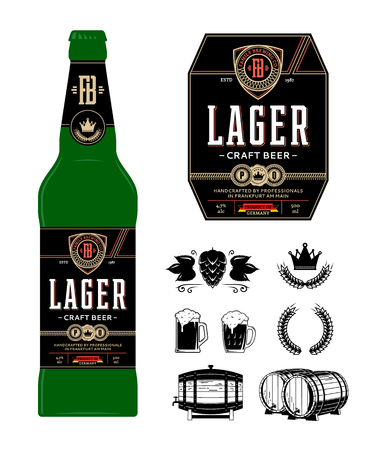 Étiquette de bière sur bouteille. Étiquette de bière blonde. Icônes de marque et d'identité de l'entreprise de brassage et éléments de conception. Vecteurs