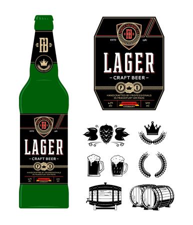 Etichetta della birra sulla bottiglia. Etichetta più chiara. Marchio dell'azienda produttrice di birra e icone di identità ed elementi di design. Vettoriali