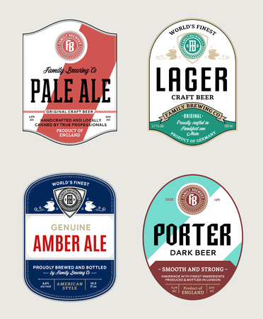 Vector beer labels and design elements. Pale ale, lager, porter and amber ale labels. Brewing company branding and identity design elements. Illusztráció