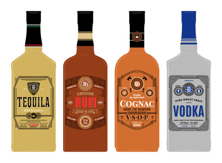 Vector alcoholic drinks vintage thin line labels on bottles. Tequila, rum, cognac and vodka labels. Distilling business branding and identity design elements.