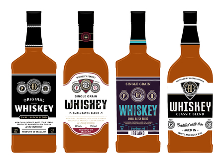 Vector whiskey labels on bottles. Distilling business branding and identity design elements.