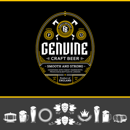 Vector vintage white and yellow beer label and icons on a black background for brewhouse, bar, pub, brewing company branding and identity. Ilustração
